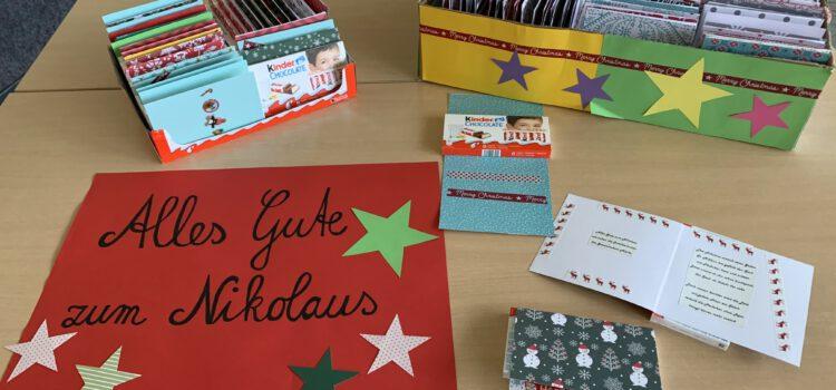 Nikolauskarten und Schokolade  für die Tafeln